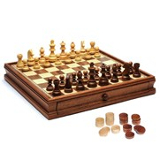 French Staunton Chess & Checkers Set w/ Weighted Pieces